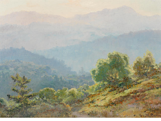 Albert Thomas DeRome (American, 1885-1959) Veils of Light, Santa Cruz Mountains, 1938 10 x 14in