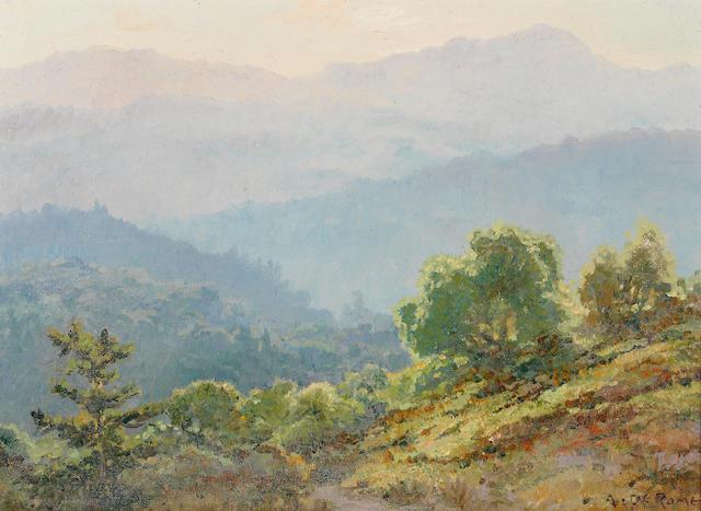 Albert Thomas DeRome (American, 1885-1959) Veils of Light, Santa Cruz Mountains, 1938 10 x 14in