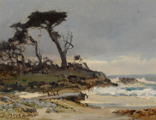 Albert Thomas DeRome (American, 1885-1959) Cypress Point, Seventeen-Mile Drive, Monterey, 1937; Incoming tide, near Point Pinos Lighthouse, 1945 (a pair) each 6 x 8in