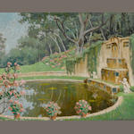 Elmer Grey (American, 1872-1963) Garden with a fountain, 1944 16 x 20in