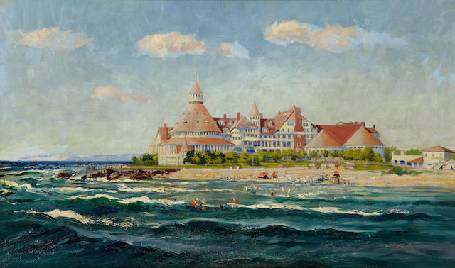 John Eliot Jenkins (American, 1868-1937) A view of the Hotel Del Coronado 27 x 45in