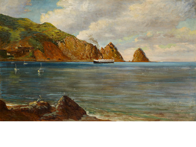 Henry Mowbray howard (American, born 1873) The Black Steamer entering Avalon Bay 30 x 48in