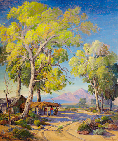 Fred Grayson Sayre (American, 1879-1939) At home at the desert's edge 40 x 34in