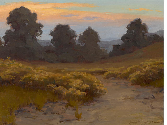 John Marshall Gamble (American, 1863-1957) Wild buckwheat at twilight 12 x 16in
