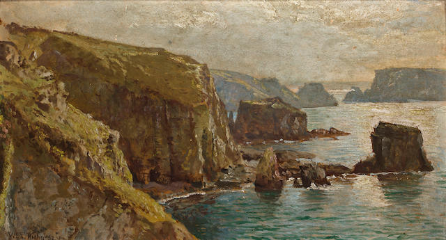 William Trost Richards (American, 1833-1905) Isle of Saik 8 3/4 x 15 3/4in