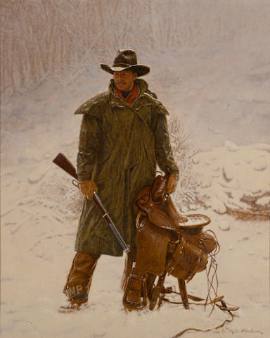 Mike C. Poulsen (American, born 1953) Artist in hunting gear, 1988 22 x 18in