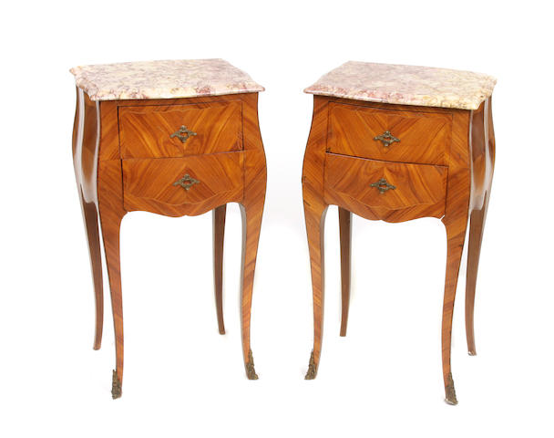 A pair of Louis XV style walnut night tables