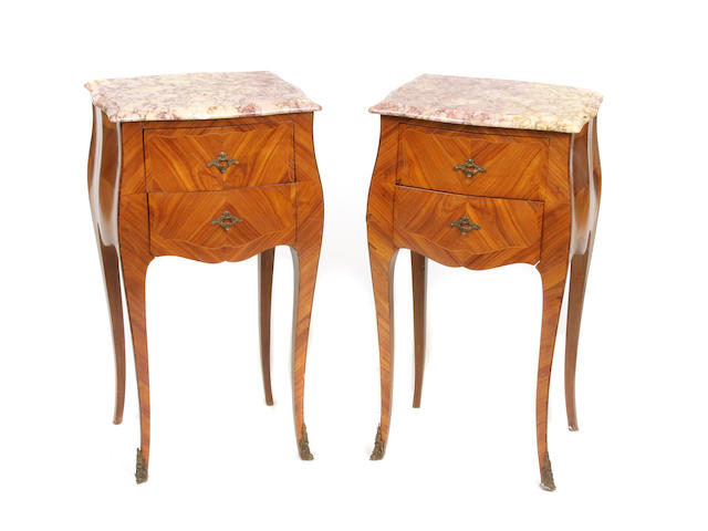 A pair of Louis XV style walnut bedside tables