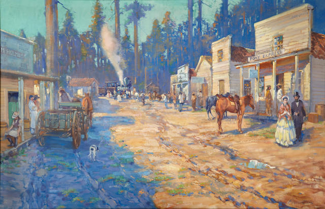 Alson Skinner Clark (1876-1949) The Passing of the Pony Express; Arrival of the First Passenger Train at Truckee, May 11, 1869 45 x 70in