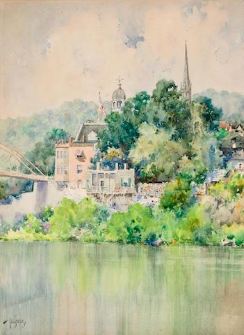 Paul Sawyier (American, 1865-1917) View of the Singing Bridge, Frankfort, KY 15 1/8 x 11 1/8in