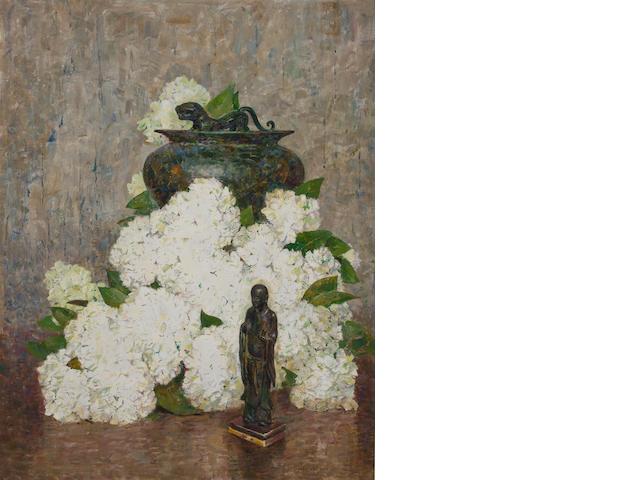 Dines Carlsen (American, 1901-1966) Hydrangeas 28 x 21 7/8in