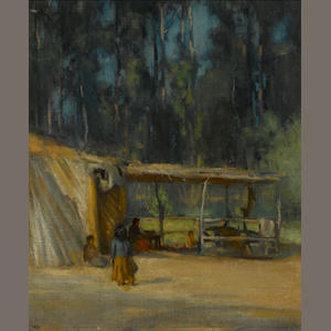 John Hubbard Rich (American, 1876-1954) Indian encampment 17 1/2 x 15in