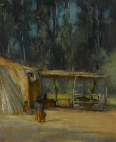 John Hubbard Rich (American, 1876-1954) Indian encampment 17 1/2 x 15in