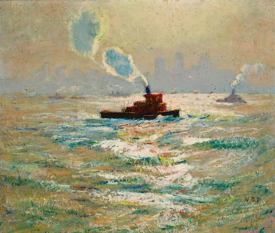Van Dearing Perrine, N.A., Hudson River Tugboats, 22 x 26, o/c