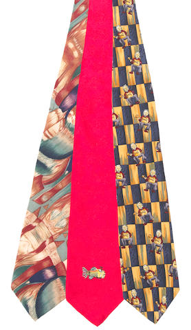 J. Garcia Design, a Jerry Garcia Self-Portrait tie, a Fish Logo tie and the first prototype tie made