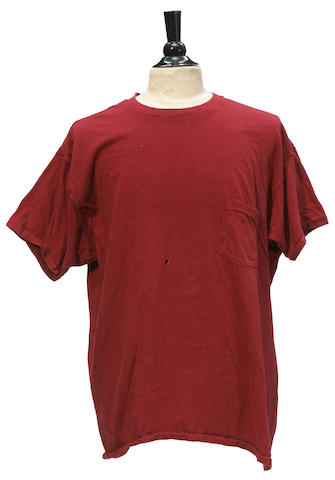 A Jerry Garcia onstage worn, red t-shirt, ca. 1985