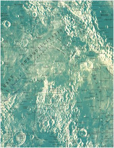 "MOON MAP SIGNED BY ARMSTRONG. ""Rand McNally Official Map of the Moon,"""