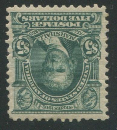 $5.00 dark green (313) well centered, glazed original gum, tiny gum crease, still very fine. $2,250.00