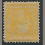 10c yellow on bluish (364) well centered for this issue, glazed o.g., some toning, otherwise almost very fine. $1,600.00