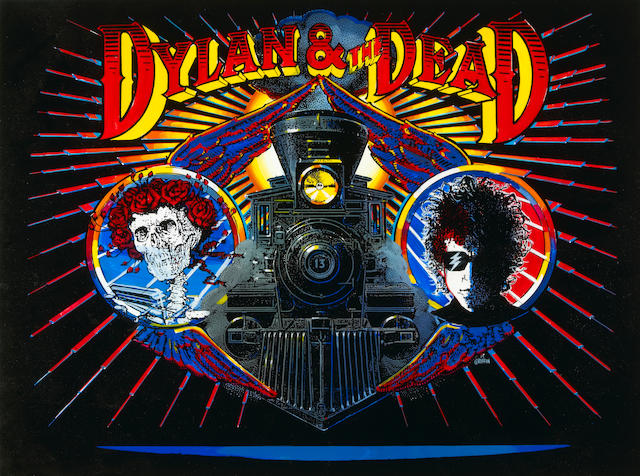 Dylan & The Dead original Rick Griffin album artwork, owned and signed by Jerry Garcia