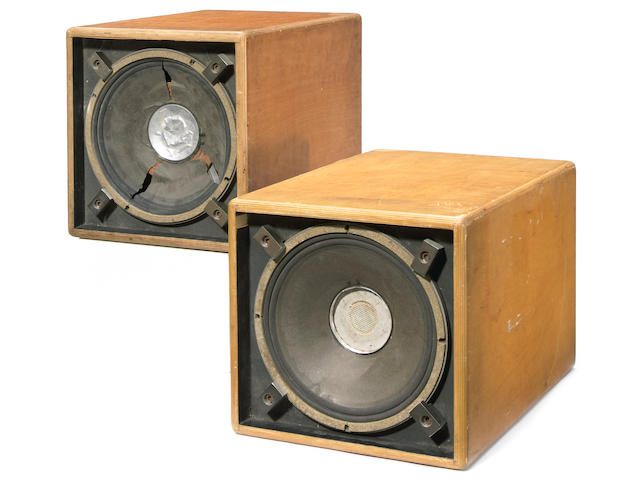 "Two Jerry Garcia monitor speaker cabinets from the line array of Grateful Dead sound reinforcement system known as the ""Wall of Sound,"" 1972-74"