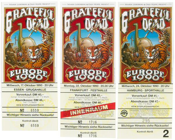 Three Grateful Dead tickets from shows in Essen, Frankfurt and Hamburg, Germany, October 17-24, 1990