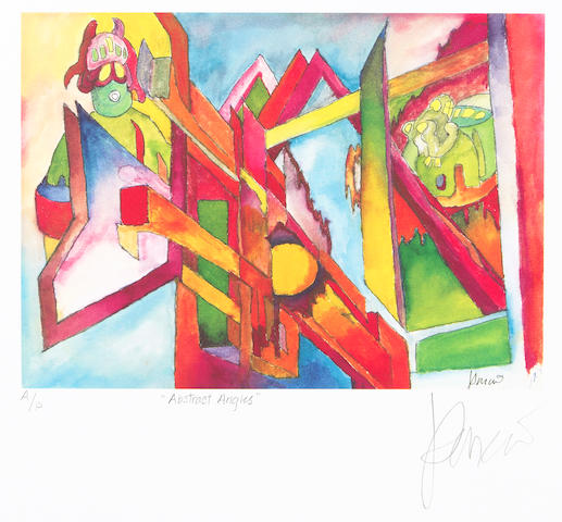 "A Jerry Garcia lithograph, ""Abstract Angles,"" gifted by Jerry to his brother and sister-in-law, Clifford ""Tiff"" Garcia and Gayle Garcia, ca. 1990"