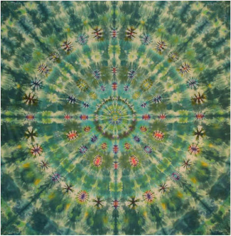 "Courtenay Pollock Tie-Dye art, ""Jeweled Empress Mandala"""