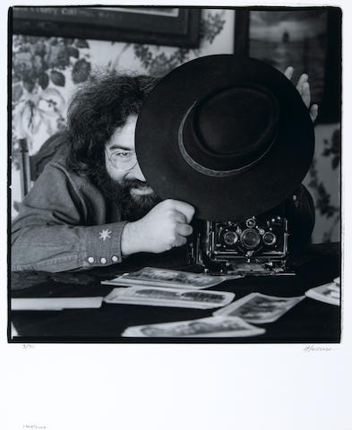 Photograph by Herb Greene of Jerry Garcia 1969, signed by Greene