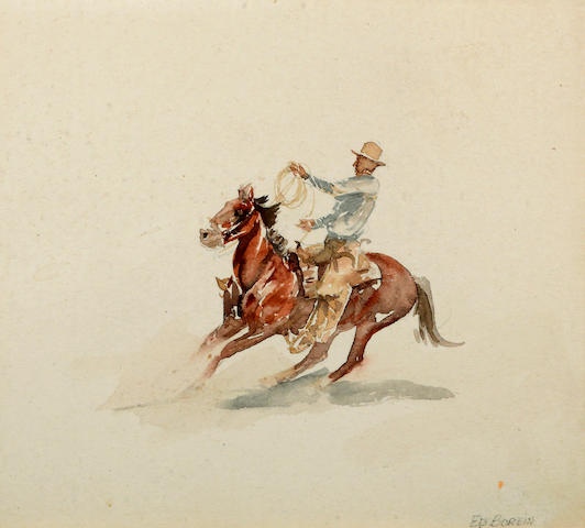 Edward Borein (American, 1872-1945) Cowboy on horseback 6 3/4 x 7 1/2in