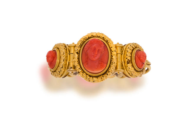 An Etruscan Revival coral and eighteen karat gold bracelet, Ernesto Pierret,