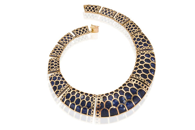 A sodalite and eighteen karat gold necklace, LaLaounis