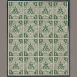 1859 4s Deep Green (5, Mi 5a) block of sixteen, never hinged, very fine.  $1,760.00 as hinged blocks of four (Mi unpriced gummed in blocks, E1760 as hinged singles)