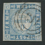 "1864 1 1/4 Blue and Gray (16, Mi 5II) type II, ""113"" Altona target cancel, good to clear margins all round, very fine, Jakubek certificate (1995).  $2,400.00 (Mi E4000)  Boker had only one used type II on cover"