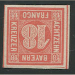 "1862 18 Kr Vermilion Red ""Zinnoberrot"" (14, Mi 13a): large margins on all sides, very lightly hinged, very fine. $875.00 (Mi €1200)"