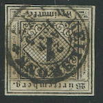 "1851-52 1kr Black on ""seidenpapier"" (1 var, Mi 1ya, type III) good to clear margins, cancelled by HEILBRONN 21 APR. 1855 townstamp, very fine, unlisted in Scott, with Irtenkauf certificate (2006). Mi E1300"