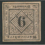 1851-52 9kr Black on Rose (5, Mi 4a, type II) good to full margins, full o.g., very fine.   $4,800.00 (Mi E6000)  The Boker collection had two examples, only one of which had gum