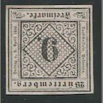 1851-52 9kr Black on Rose (5, Mi 4a, type II) good margins all round, small part o.g., very fine, Thoma certificate (1995). $4,800.00 (Mi E6000)