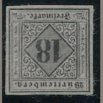 1851-52 18kr Black on Dull Violet (6, Mi 5 type I) good margins all round, full o.g., very fine, Irtenkauf certificate (2007), Buhler and Richter handstamps. $1,450.00 (Mi E1800)