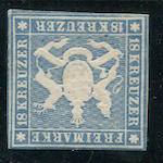 1857 18kr Blue with Silk Threads (12, Mi 10a) pair, frame lines clear almost all round, disturbed o.g., very fine, various signatures and handstamps.  $3,350.00 (Mi E4200)   The Boker collection had only a pair, no other examples