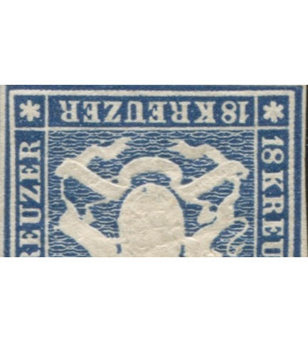 1859 18kr Blue without Silk Threads (18, Mi 15) vertical pair, full o.g., good margins all round, rich deep color, full original gum,  extremely fine, a magnificent pair,  $8,400.00 as two singles,  used pairs of this issue are generally valued at a 50% premium. (Mi E8400 as singles)  In the Boker collection there were no unused multiples of the 18kr, and only one single. Truly an exhibition piece.