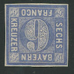 1862 6Kr Ultramarine Proof (11aP, Mi10P2): Four margin, o.g.,very fine and very rare,  $2400.00 (Mi €3000)   Only one example in the Boker Collection.