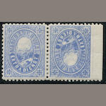 Maderaner Tal 1870-85 (Mi 7, Hotel Schweizer Alpenclub) (no value) Blue TETE-BECHE SHEET MARGIN PAIR, o.g., fresh bright color, very fine and incredibly rare. Mi SF4,800