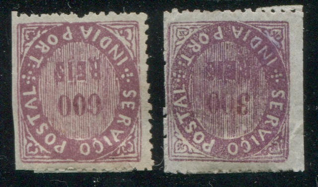 Portuguese India, 1871-77 mounted collection of just over 100 unused and used stamps between nos. 1 and 55, well documented by issue, few unused have gum, condition far better than normally found for these rare stamps, generally fine or better. Est. Cash Value $3,000-5,000