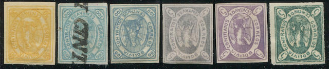 Bolivia, 1862 to 1867 First and Second Issues collection of 72 stamps on quadrille pages, unused and used with mostly fiscal cancels, 5c imperf. more or less identified by type, values to 100c, the five reprints and the 9 and 11 star issues, generally fine to very fine, (1-18)
