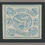 1852 2s Blue (2, Mi 2) unused, very fine, Calves handstamp. $1,450.00 (Mi E1800)