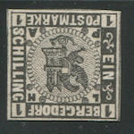 1861 1s black on white (2P, Mi II) on thick paper, margins all round, most frame-lines present, o.g., very fine, with Brettl (1998), and Friedl (1949) certificates, signed by all three plus other handstamps. E900 The Boker collection had all proof values save the 1s.