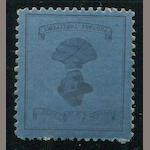 Cape of Good Hope, 1900 3p deep blue (180a, S.G. 22) General Baden-Powell Large Format, part original gum, perfect centering, virtually unblemished face, extremely fine.  $9,250.00 (S.G. L12,000)  Of the eleven or so copies of the Large Format Baden-Powell, of both colors, including the block of four in light blue. The bulk of the singles have faults. This is perhaps the finest single copy, irrespective of shade.