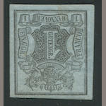 1850 1g g Black on Gray Blue (1, Mi 1) full o.g., extremely fine, Roumet handstamp $4,000.00 (Mi E5000)