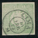 "1868-72 1d green (14a) variety ""Arms embossed inverted"", neat LIMA 1874 c.d.s., very fine. $1,200.00"